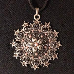 Boho Silver-toned Flower Medallion Choker